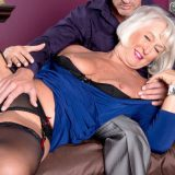 "First a dildo, then a cock for Jeannie Lou's ass Today, 62-year-old Jeannie Lou has a surprise for her man. She's wearing a blue dress that makes her look classy. But you know what they say... ""devil with a blue dress..."" ""I've got something new today,..."