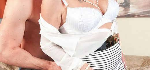 """The British MILFs just keep on cumming at 50PlusMILFs.com. Here's Dimonty, a 58-year-old  from London who's going to fuck a guy who's easily young enough to be her son. She sucks and fucks him, then he unloads his load onto her pretty face.  """"I love b..."""