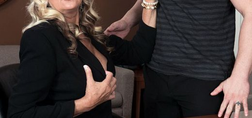 Tarzan is the employee. Dallas Matthews, who's 57 years old, is his boss. He has the reports she requested, but she's sitting there with her tits pouring out of her business suit. What's a man to do? Fuck the boss? That's right! Give the boss what she...